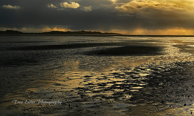 On the beach: Stormclouds over Walney Island.