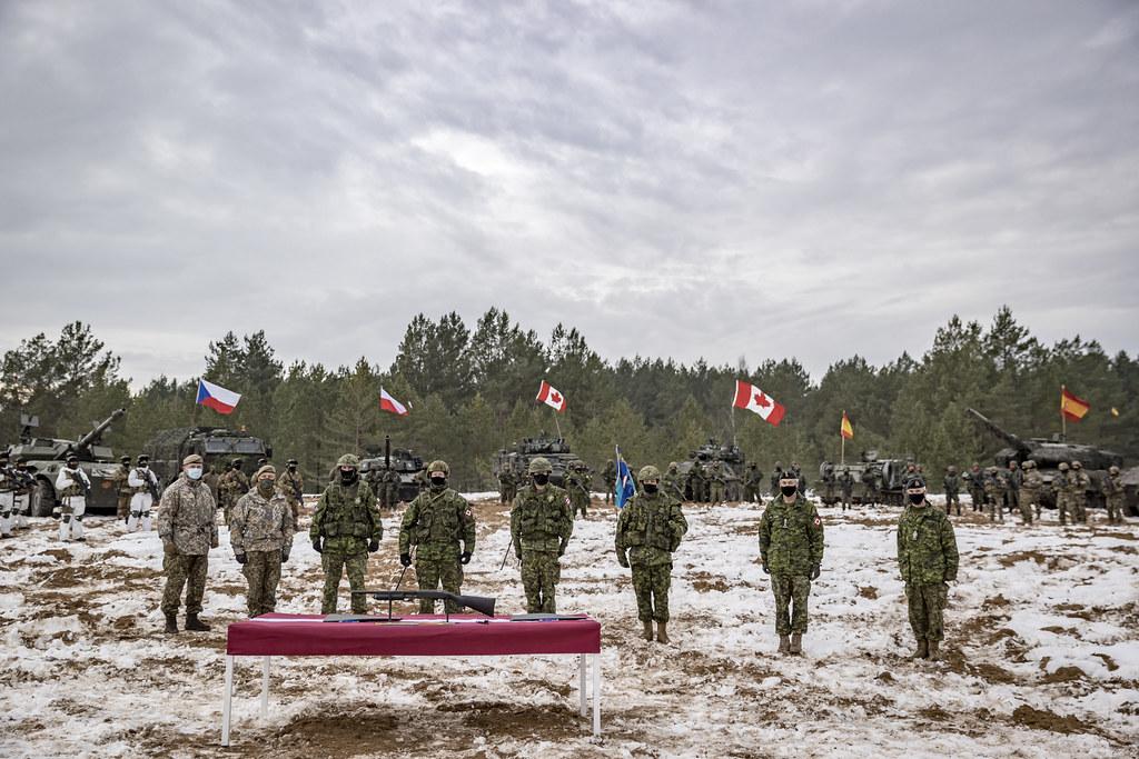 NATO paplašinātās klātbūtnes Latvijā kaujas grupas vadības maiņas ceremonija