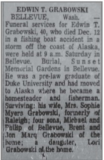 2021-01-23. Obituary_for_EDWIN_T_GRABOWSK, News and Observer (Raleigh, N.C.), Dec. 22, 1968