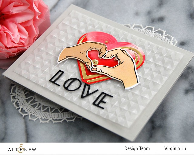 01242021-A Little Bit of Love-Angled Mosaic Embossing Folder-Illusion Heart Die-001