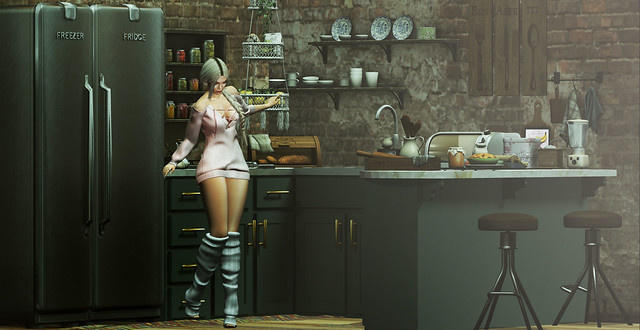 A cozinha é pequena mas cheia de amor.