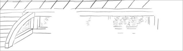 壇上積基壇。香取本『大江山絵詞』(おおえやまえことば)の絵図(現状の絵巻の原本の「下巻 第七絵図」)のイメージ画像(絵図全体のなかの一部分の抜粋)