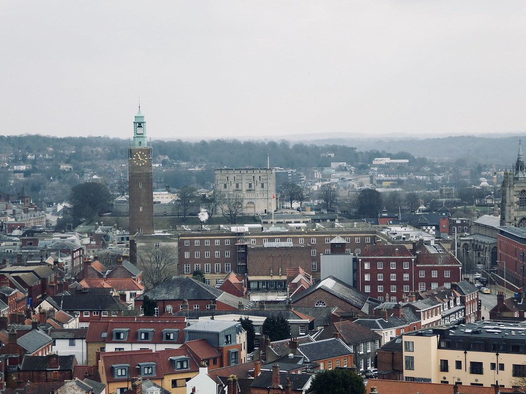 View from the rooftop of Norwich Catholic Cathedral