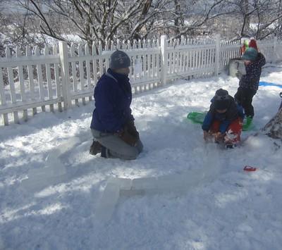 placing ice blocks