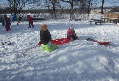the mini sledding hill