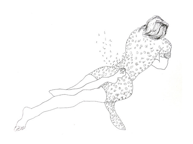 רישום עכשווי בקו רפידוגרף של אישה שוכבת רישומי נשים צייר יוצר ישראלי רפי פרץ