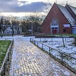 Snowy footpath  by a church at Preston