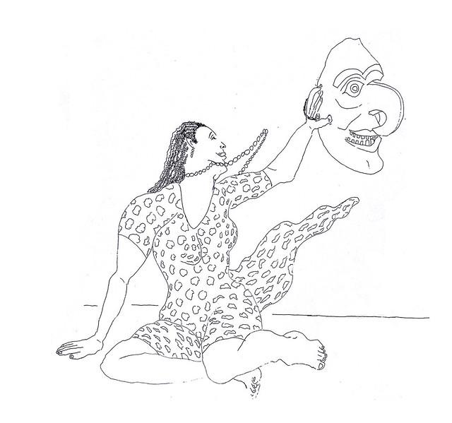 רישום אישה מחזיקה מסכה רישומי נשים רפי פרץ יוצר ישראלי עכשווי מודרני