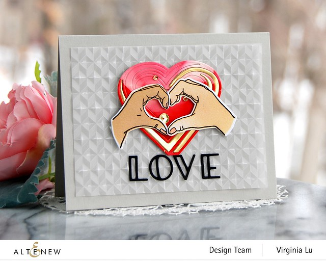 01242021-A Little Bit of Love-Angled Mosaic Embossing Folder-Illusion Heart Die