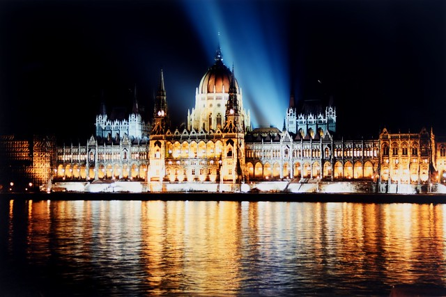 Millenium lightshow over the Hungarian Parliament Building and the River Danube