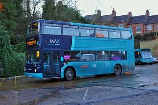 Arriva North East, No. 7422 / LJ55 BUA, a Volvo B7TL with Alexander ALX400, H45/23F bodywork,   Durham City Bus Station. 23.01.2021.