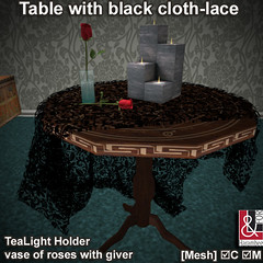 Table with cloth-lace, TeaLight Holder & roses giver