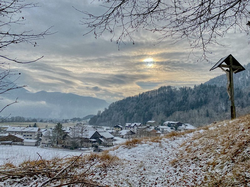 Winter landscape with the river Inn valley in Bavaria, Germany