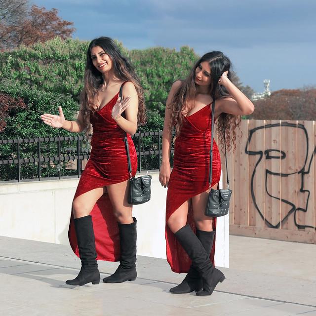 Nice girl wearing an red evening dress
