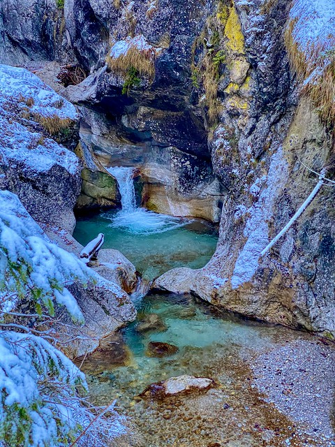 Gießenbachklamm in winter near Kiefersfelden in Bavaria, Germany