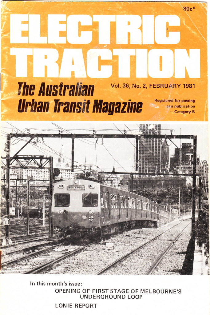 """""""Electric Traction"""" February 1981 - cover featuring City Loop opening"""