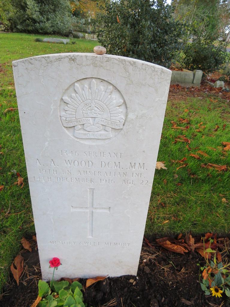 Stourbridge Cemetery Sergeant 1346 Alfred Arthur Wood DCM MM 19th Battalion Australian Infantry