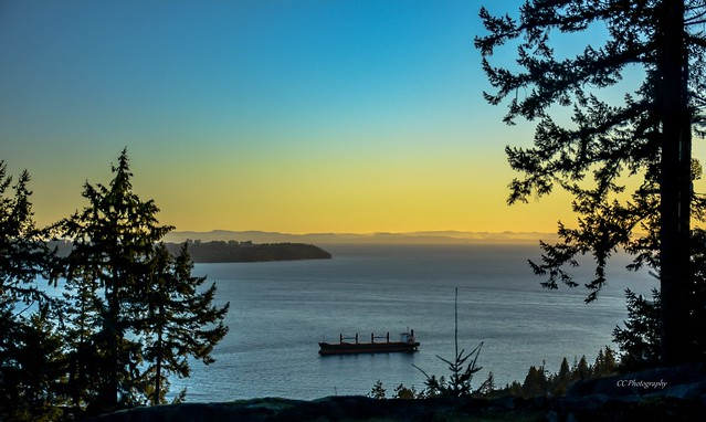 Ship Lies Waiting in the Harbour *  Mouth of Burrard Inlet * Vancouver, BC