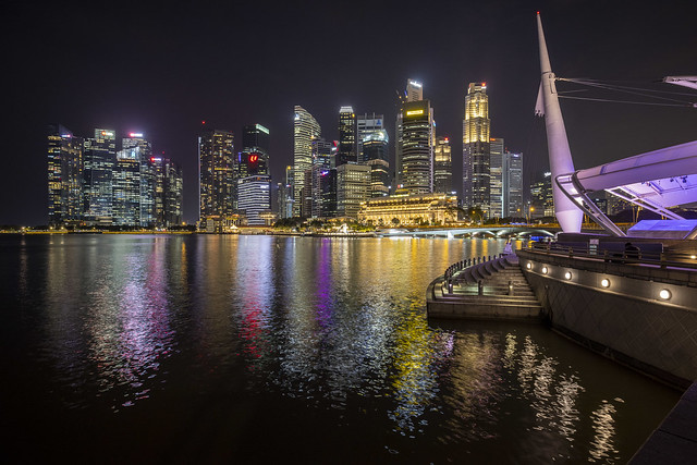 Night Reflections at Esplanade & Business District