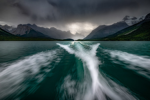 Wild Boat Ride Across Maligne Lake