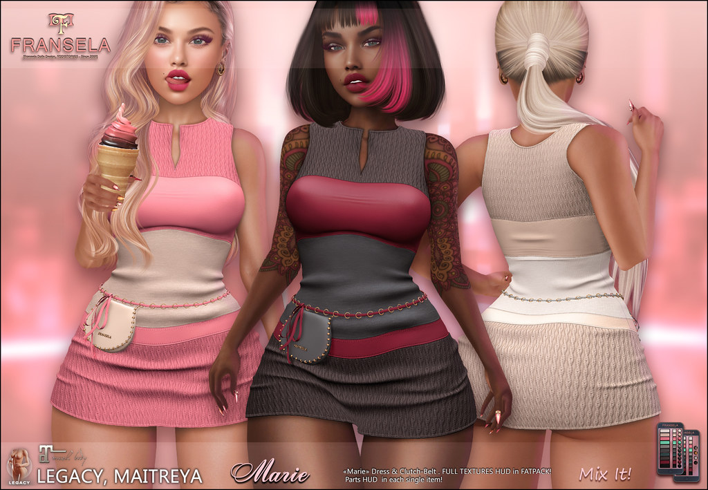 FRANSELA: Marie Dress & Belt-Clutch [Maitreya,Legacy]