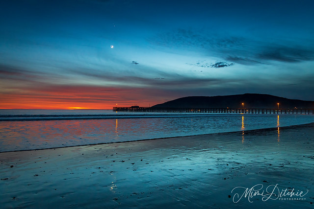 The Crescent Moon with Jupiter and Saturn Over Avila Beach