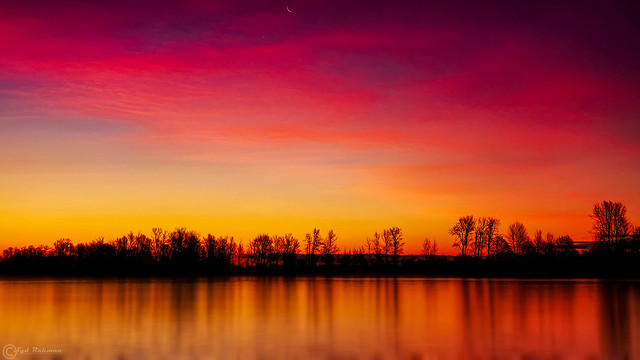 Morning Blue Hour with Moon and Venus at Steveston, Richmond, BC, Canada