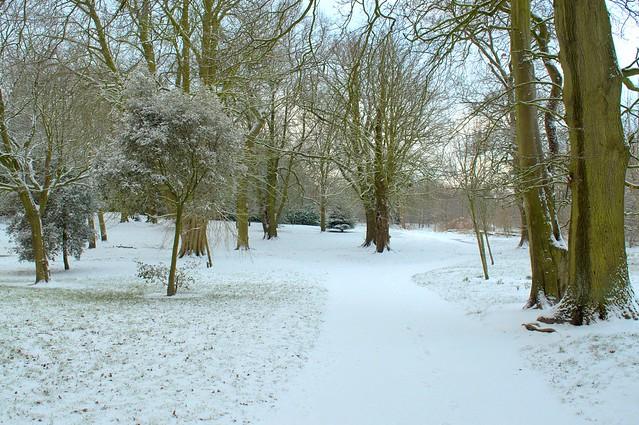 Snowy Ashton Park in Preston