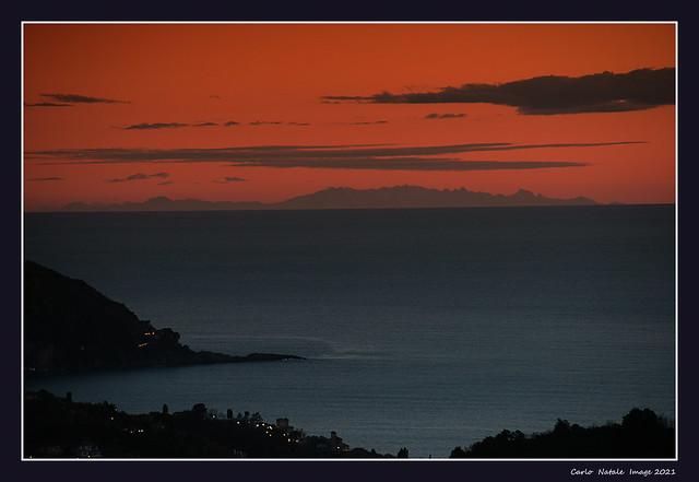 Corsica Island from Testana - Genoa, Italy
