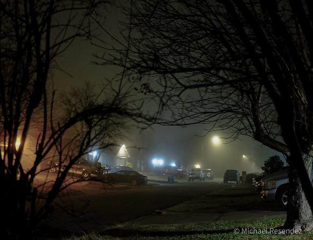Fog rolls into the neighborhood
