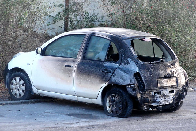 2006 Nissan Micra 1.2 YM21542 has been wrecked by a fire