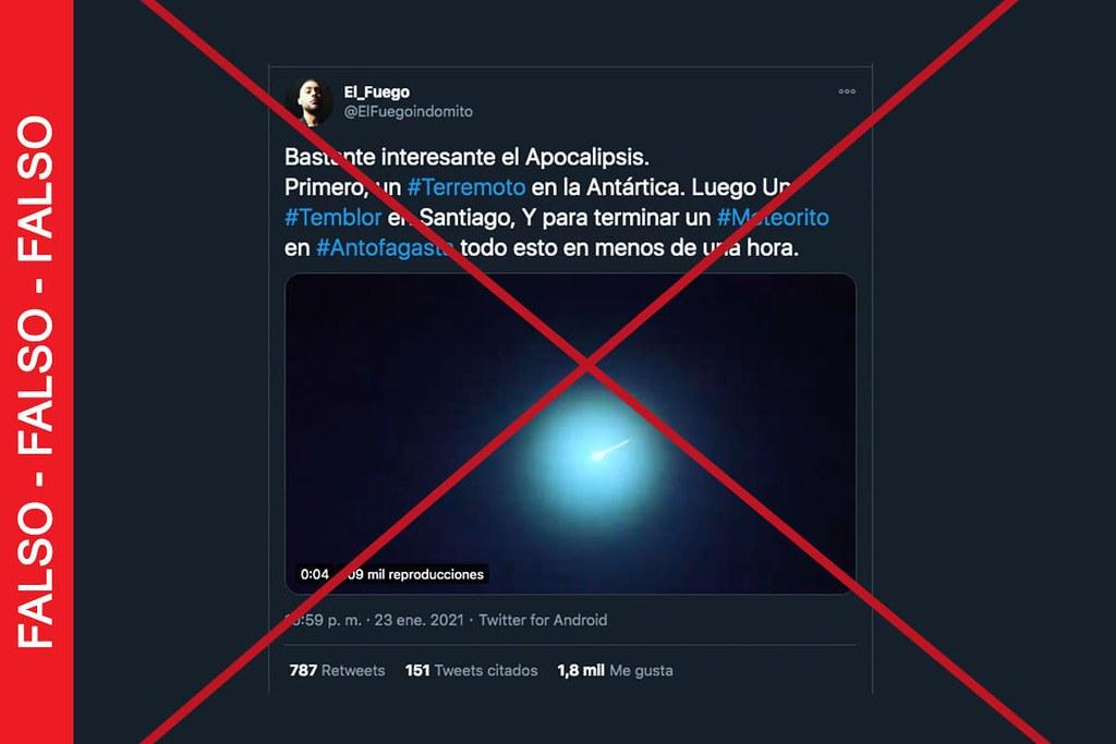 """No es actual el video que muestra caída de """"meteorito"""" en Antofagasta"""