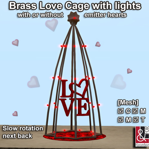 Brass Love Cage with lights & emitter PIC