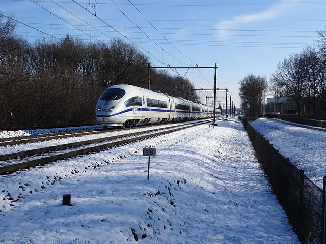 ICE with Blue Line in the Snow at Blerick,the Netherlands ! 24.1.2021 !