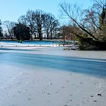 Frozen lake at Haslam Park, Preston, Lancashire
