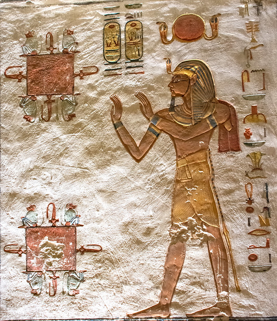 Theban Necropolis Valley of the Kings Tomb of Rameses V & VI XX Dyn I Antechamber Rameses VI in Adoration before 2 pools & baboons (3)