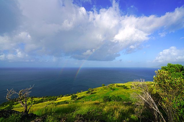 Stunning double rainbow over the Caribbean sea, St Kitts