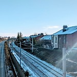 Snowy rail tracks in Preston