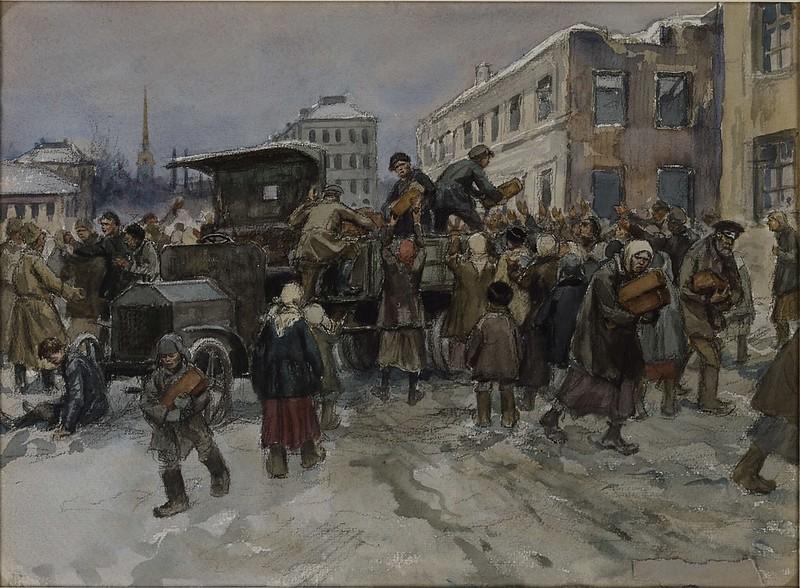 Иван Владимиров. 1920 г. Голодные рабочие в Петрограде грабят военный грузовик с хлебом.