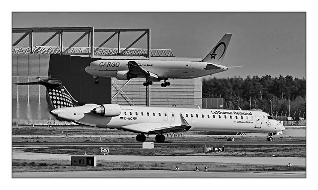 CN-ROW - Royal Air Maroc Cargo - Boeing 767-343(ER)(BCF) - D-ACNV - Lufthansa CityLine - Mitsubishi CRJ-900LR