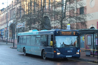 Arriva North East Darlington based Scania Omnicity 4650 seen working the 8 To Spennymoor