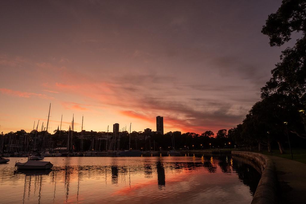 Sydney's Rushcutters Bay with a warm dawn.