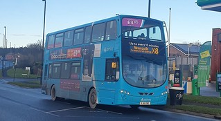 Arriva North East VDL DB300 Wright Gemini 2 YJ61 OBE seen here on the X8 to Newcastle