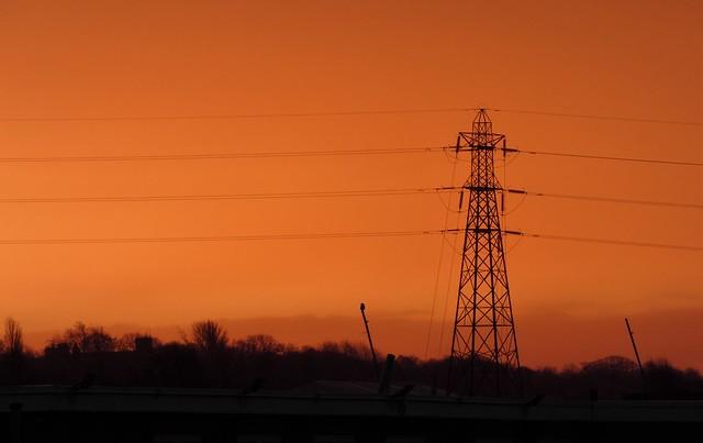 Power Pylon Sunrise -Tyne Railway Yard