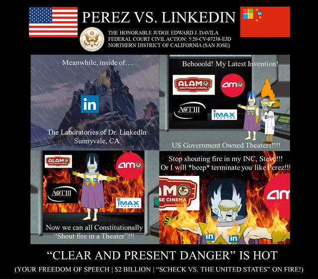 26 Alejandro Evaristo Perez vs Linkedin Corporation - US Federal Court Case -  The Army Wizard of OZ - Aqua Teen Hunger Force - Schreck vs the United States