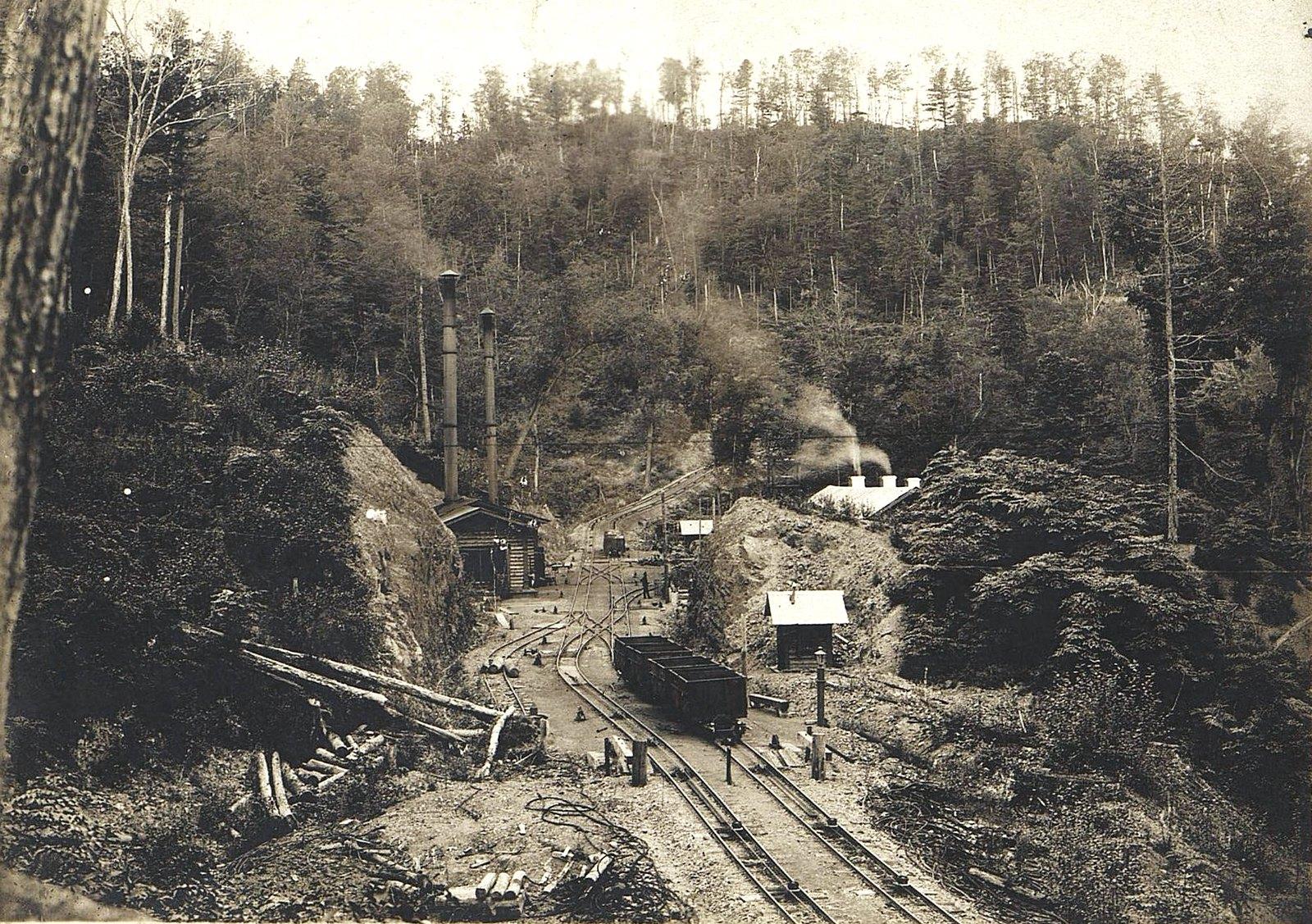 Участок Сучанской узкоколейной железной дороги с применением канатной тяги в районе перевала Сихотэ-Алинь