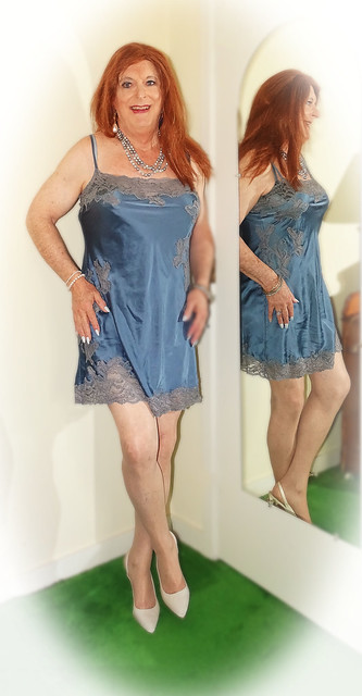Tami in another blue silk slip