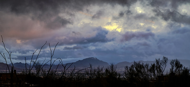 Tucson AZ Winter storm at Sunset