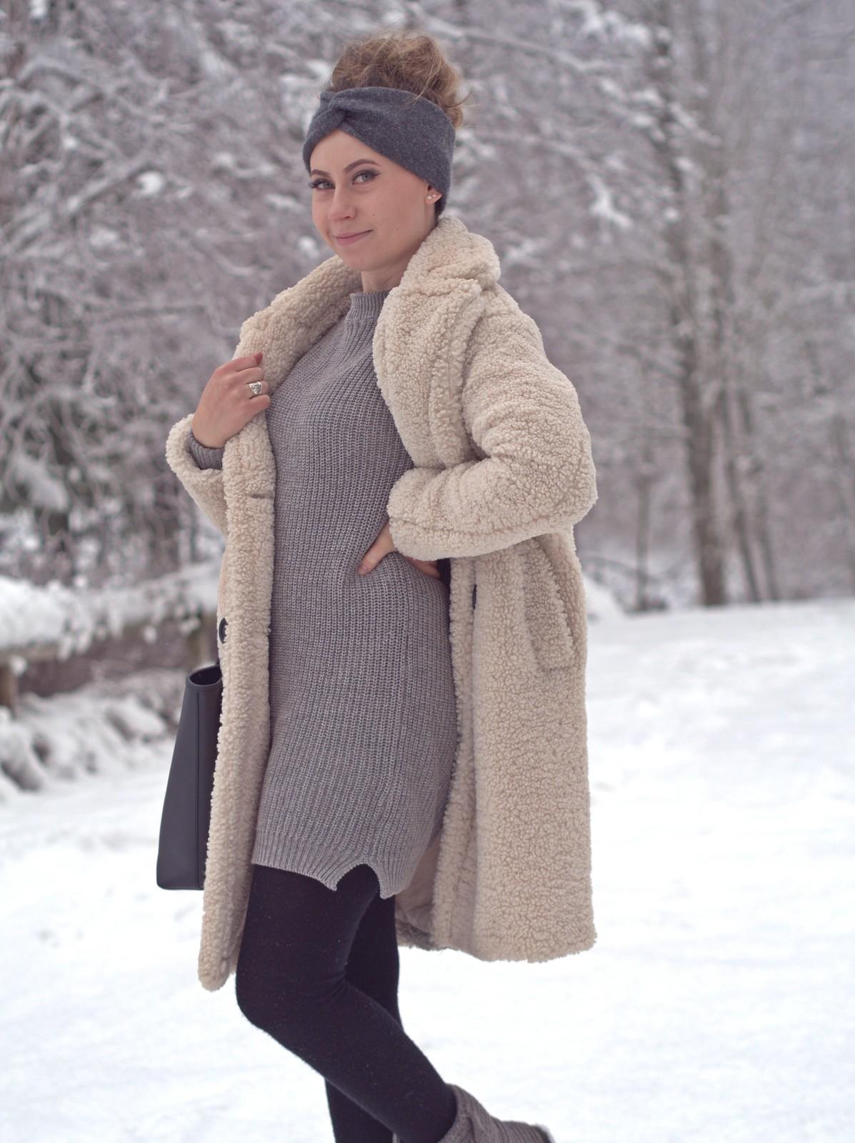 harmaa musta valkoinen asu talveen