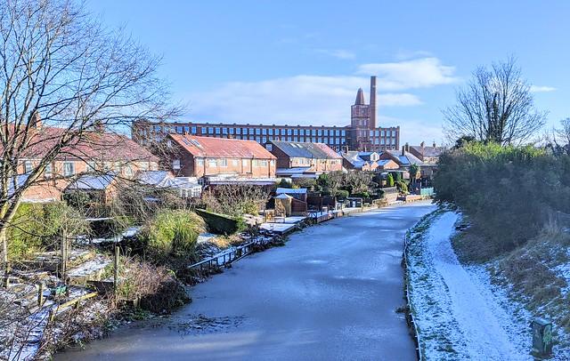 Frozen canal scene at Preston